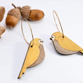 boucles d'oreille oiseau - boucles d'oreille poétique - maison zéphyre - bijoux en bois écoresponsable - boucles d'oreille poétiques - oiseaux -